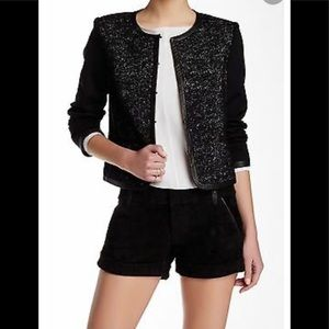 Alice+olivia Kidman Leather Trim Wool Blend Jacket